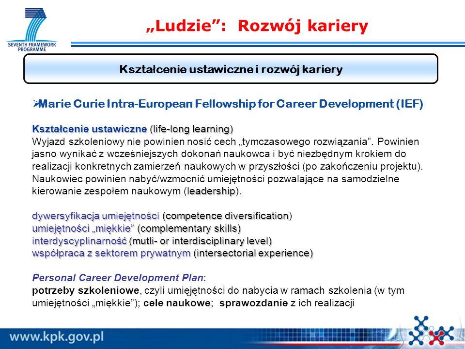 Ludzie: Rozwój kariery Kszta ł cenie ustawiczne i rozwój kariery Kształcenie ustawiczne (life-long learning) leadership dywersyfikacja umiejętności(competence diversification umiejętności miękkie(complementary skills) interdyscyplinarność (mutli- or interdisciplinary level) współpraca z sektorem prywatnym (intersectorial experience) Marie Curie Intra-European Fellowship for Career Development (IEF) Kształcenie ustawiczne (life-long learning) Wyjazd szkoleniowy nie powinien nosić cech tymczasowego rozwiązania.