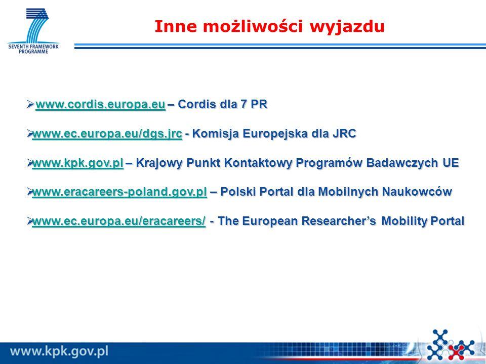 Inne możliwości wyjazdu www.cordis.europa.eu – Cordis dla 7 PR www.cordis.europa.eu – Cordis dla 7 PRwww.cordis.europa.eu www.ec.europa.eu/dgs.jrc - Komisja Europejska dla JRC www.ec.europa.eu/dgs.jrc - Komisja Europejska dla JRC www.ec.europa.eu/dgs.jrc www.kpk.gov.pl – Krajowy Punkt Kontaktowy Programów Badawczych UE www.kpk.gov.pl – Krajowy Punkt Kontaktowy Programów Badawczych UE www.kpk.gov.pl www.eracareers-poland.gov.pl – Polski Portal dla Mobilnych Naukowców www.eracareers-poland.gov.pl – Polski Portal dla Mobilnych Naukowców www.eracareers-poland.gov.pl www.ec.europa.eu/eracareers/ - The European Researchers Mobility Portal www.ec.europa.eu/eracareers/ - The European Researchers Mobility Portal www.ec.europa.eu/eracareers/