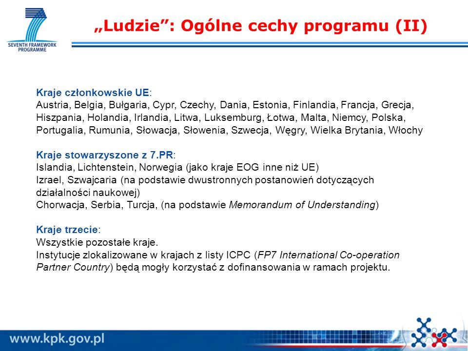 Ludzie: Ogólne cechy programu (II) Kraje członkowskie UE: Austria, Belgia, Bułgaria, Cypr, Czechy, Dania, Estonia, Finlandia, Francja, Grecja, Hiszpania, Holandia, Irlandia, Litwa, Luksemburg, Łotwa, Malta, Niemcy, Polska, Portugalia, Rumunia, Słowacja, Słowenia, Szwecja, Węgry, Wielka Brytania, Włochy Kraje stowarzyszone z 7.PR: Islandia, Lichtenstein, Norwegia (jako kraje EOG inne niż UE) Izrael, Szwajcaria (na podstawie dwustronnych postanowień dotyczących działalności naukowej) Chorwacja, Serbia, Turcja, (na podstawie Memorandum of Understanding) Kraje trzecie: Wszystkie pozostałe kraje.