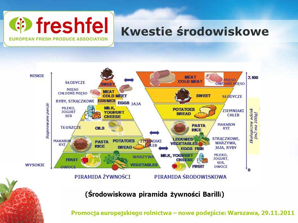 Promocja europejskiego rolnictwa – nowe podejście: Warszawa, 29.11.2011 Kwestie środowiskowe (Środowiskowa piramida żywności Barill i ) MIĘSO CHŁODNE