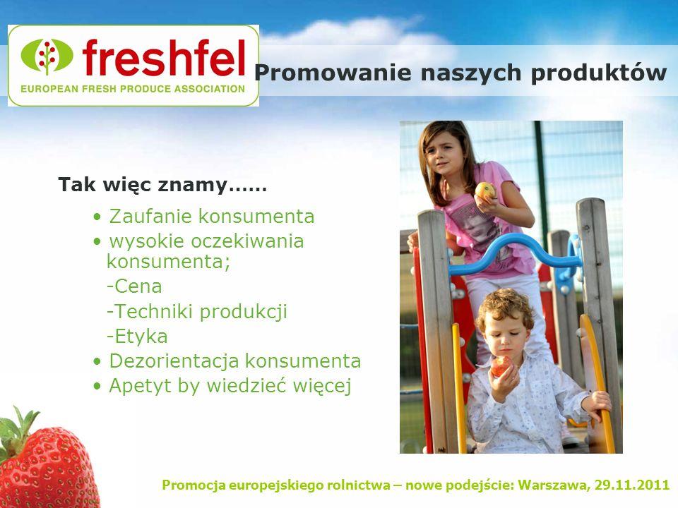 Promocja europejskiego rolnictwa – nowe podejście: Warszawa, 29.11.2011 Promowanie naszych produktów Tak więc znamy…… Zaufanie konsumenta wysokie ocze