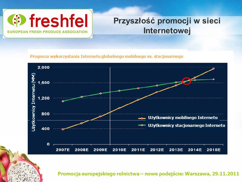 Promocja europejskiego rolnictwa – nowe podejście: Warszawa, 29.11.2011 Przyszłość promocji w sieci Internetowej Prognoza wykorzystania Internetu glob