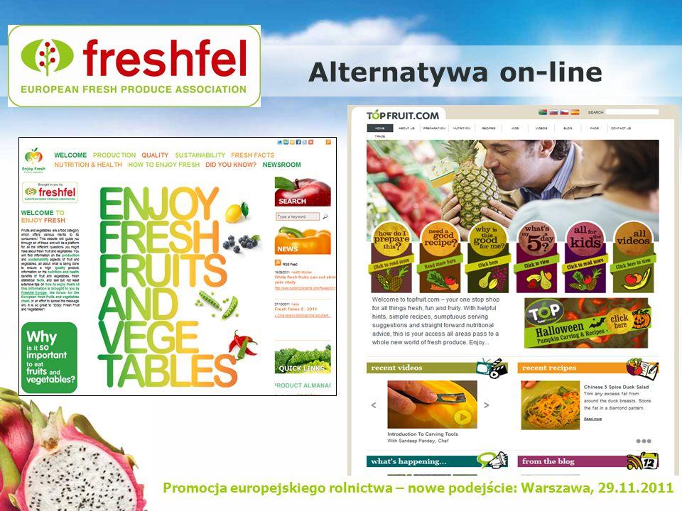 Promocja europejskiego rolnictwa – nowe podejście: Warszawa, 29.11.2011 Alternatywa on-line
