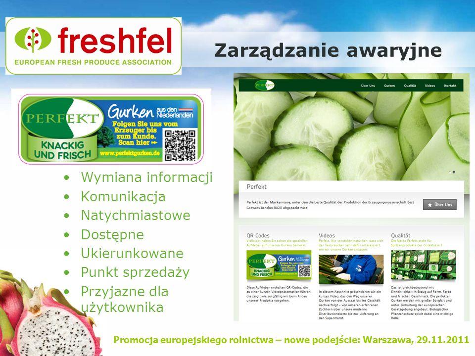 Promocja europejskiego rolnictwa – nowe podejście: Warszawa, 29.11.2011 Zarządzanie awaryjne Wymiana informacji Komunikacja Natychmiastowe Dostępne Uk