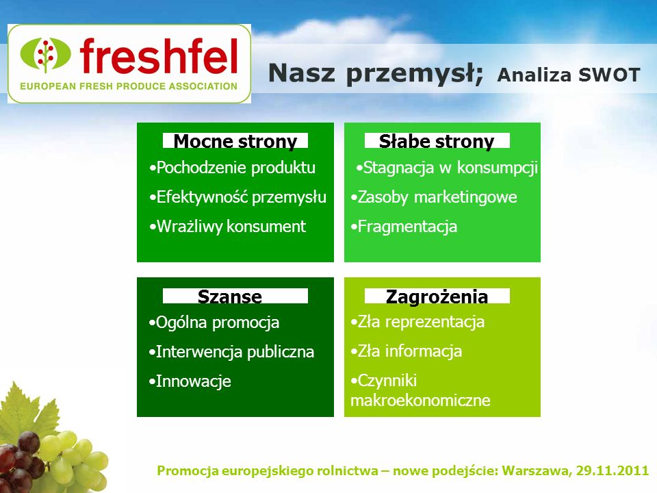 Promocja europejskiego rolnictwa – nowe podejście: Warszawa, 29.11.2011 Nasz przemysł; Analiza SWOT Mocne stronySłabe strony SzanseZagrożenia Pochodze