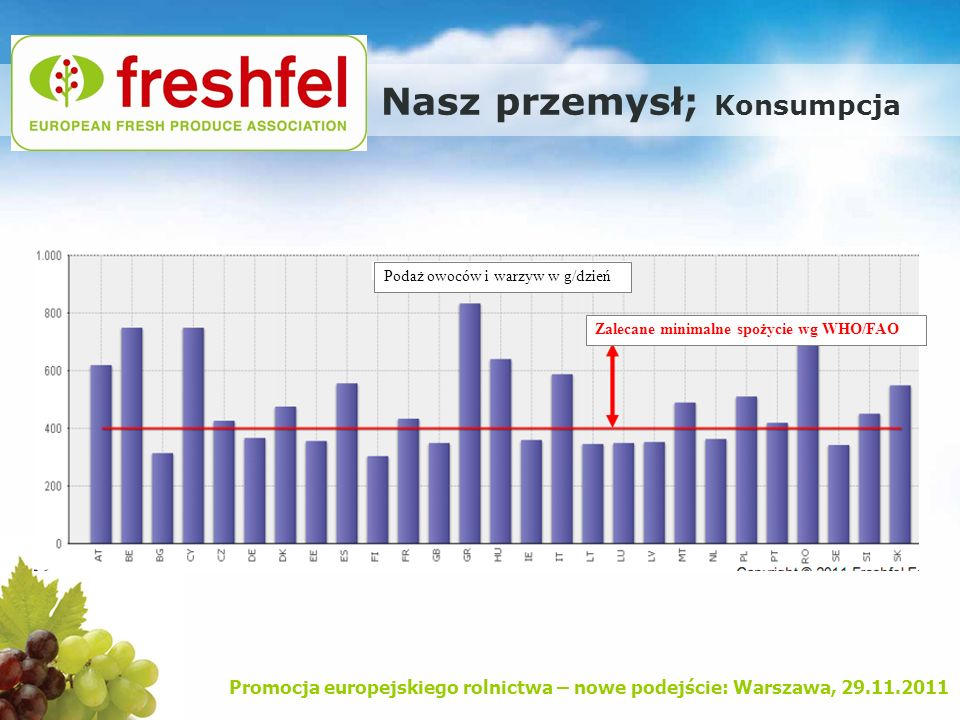 Promocja europejskiego rolnictwa – nowe podejście: Warszawa, 29.11.2011 Nasz przemysł; Konsumpcja Podaż owoców i warzyw w g/dzień Zalecane minimalne s