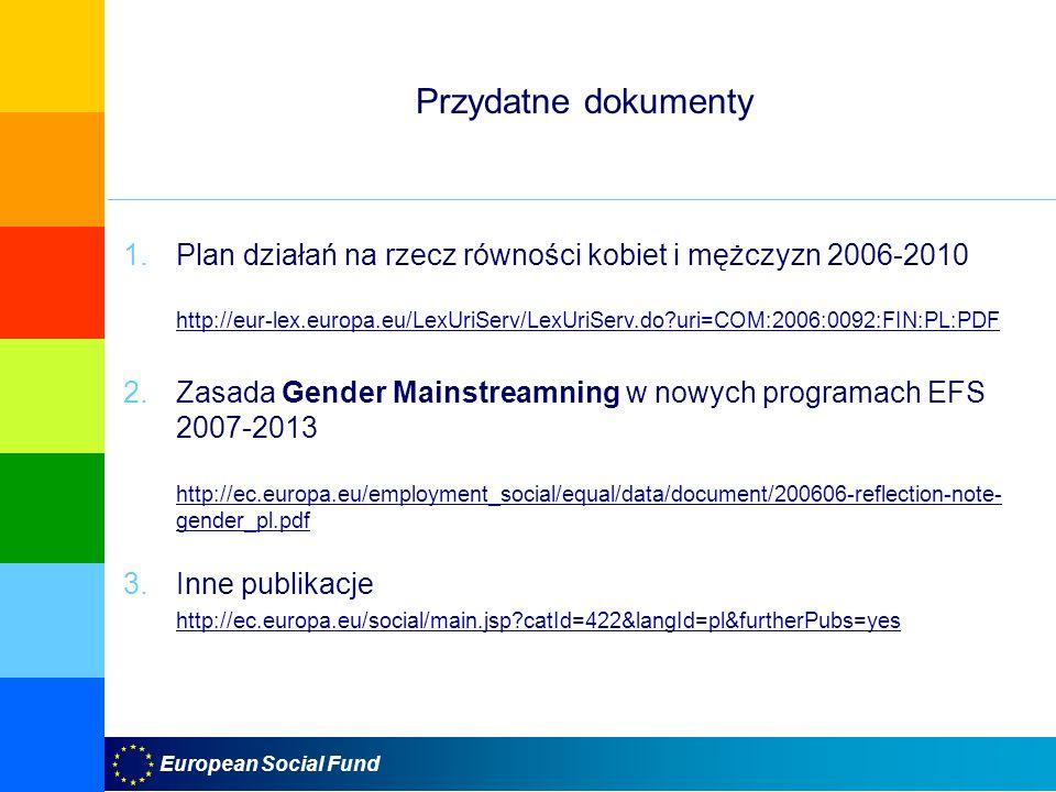 European Social Fund Przydatne dokumenty 1.Plan działań na rzecz równości kobiet i mężczyzn 2006-2010 http://eur-lex.europa.eu/LexUriServ/LexUriServ.do?uri=COM:2006:0092:FIN:PL:PDF http://eur-lex.europa.eu/LexUriServ/LexUriServ.do?uri=COM:2006:0092:FIN:PL:PDF 2.Zasada Gender Mainstreamning w nowych programach EFS 2007-2013 http://ec.europa.eu/employment_social/equal/data/document/200606-reflection-note- gender_pl.pdf http://ec.europa.eu/employment_social/equal/data/document/200606-reflection-note- gender_pl.pdf 3.Inne publikacje http://ec.europa.eu/social/main.jsp?catId=422&langId=pl&furtherPubs=yes
