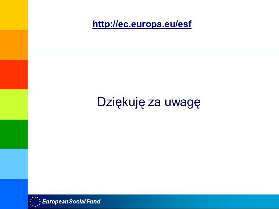 European Social Fund Dziękuję za uwagę http://ec.europa.eu/esf