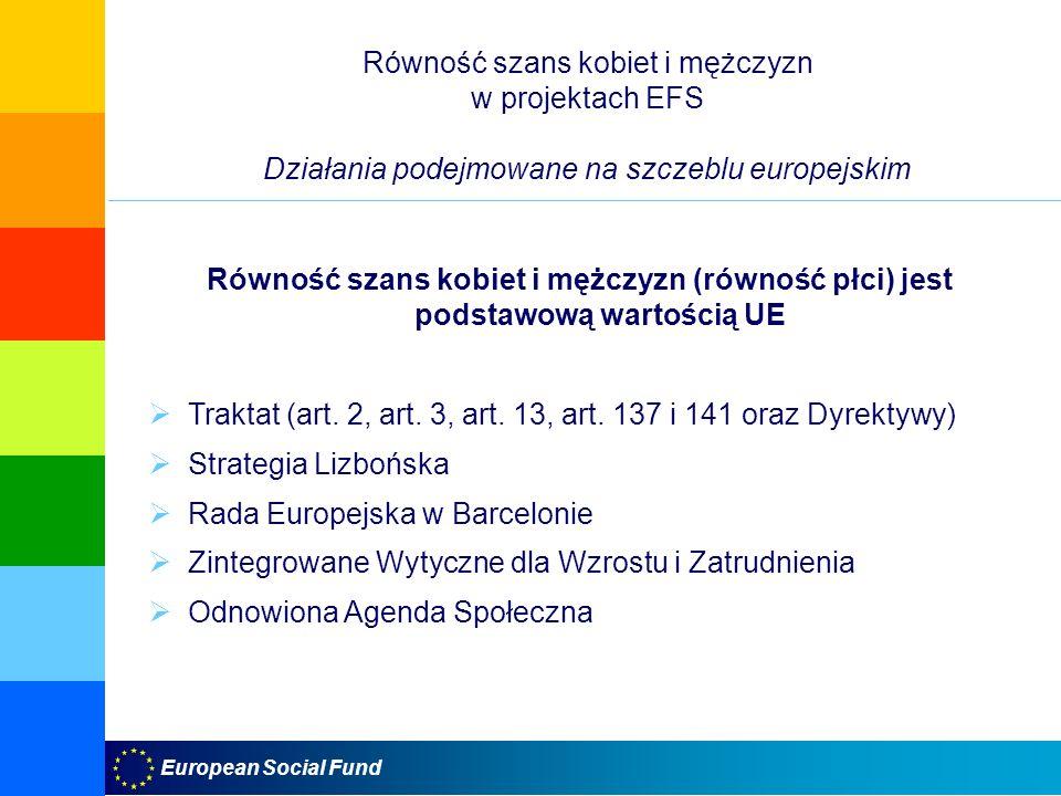 European Social Fund Równość szans kobiet i mężczyzn w projektach EFS Działania podejmowane na szczeblu europejskim Równość szans kobiet i mężczyzn (r