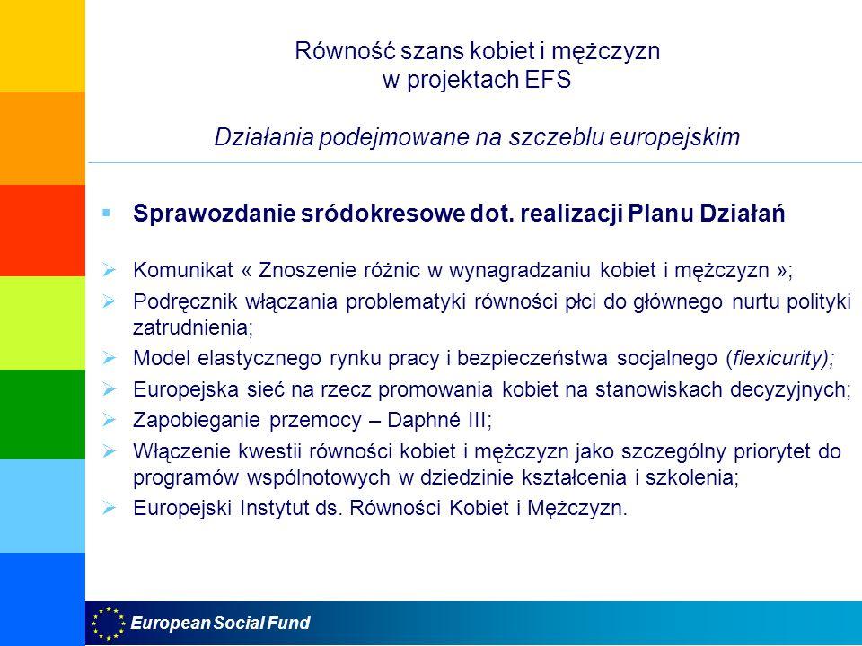 European Social Fund Równość szans kobiet i mężczyzn w projektach EFS Działania podejmowane na szczeblu europejskim Sprawozdanie sródokresowe dot. rea