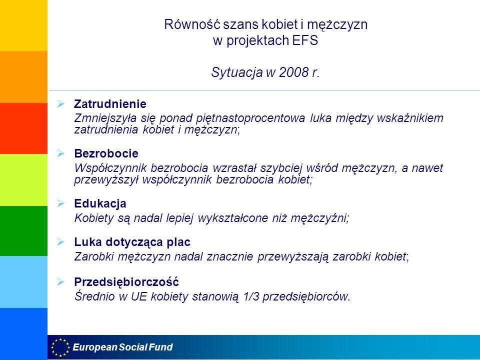 European Social Fund Równość szans kobiet i mężczyzn w projektach EFS Sytuacja w 2008 r. Zatrudnienie Zmniejszyła się ponad piętnastoprocentowa luka m