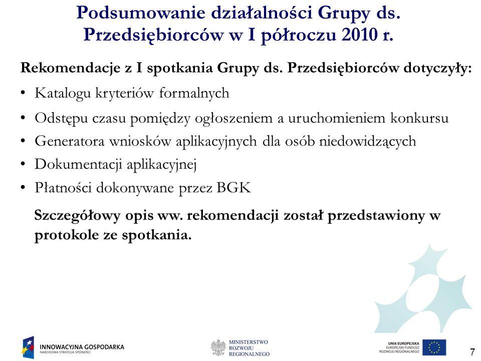 18 Podsumowanie działalności Grupy ds.Przedsiębiorców w I półroczu 2010 r.
