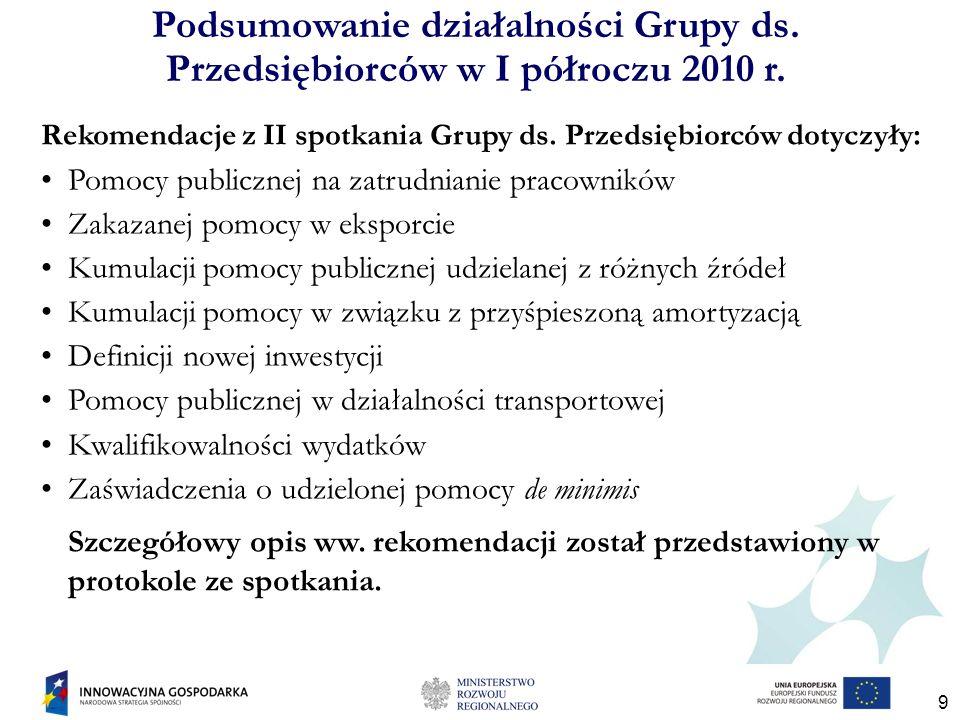 20 Do końca 2010 r., opracujemy harmonogram dalszych prac Grupy, uwzględniając propozycje i sugestie naszych Członków i innych instytucji zaangażowanych w pracę Grupy co do zakresu tematycznego spotkań.