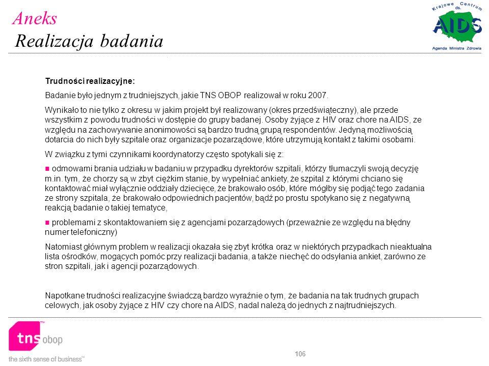 106 Trudności realizacyjne: Badanie było jednym z trudniejszych, jakie TNS OBOP realizował w roku 2007.