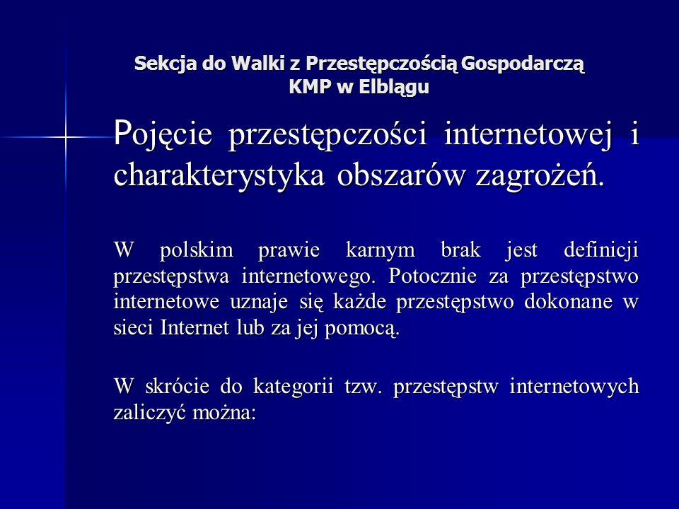 Sekcja do Walki z Przestępczością Gospodarczą KMP w Elblągu P ojęcie przestępczości internetowej i charakterystyka obszarów zagrożeń.