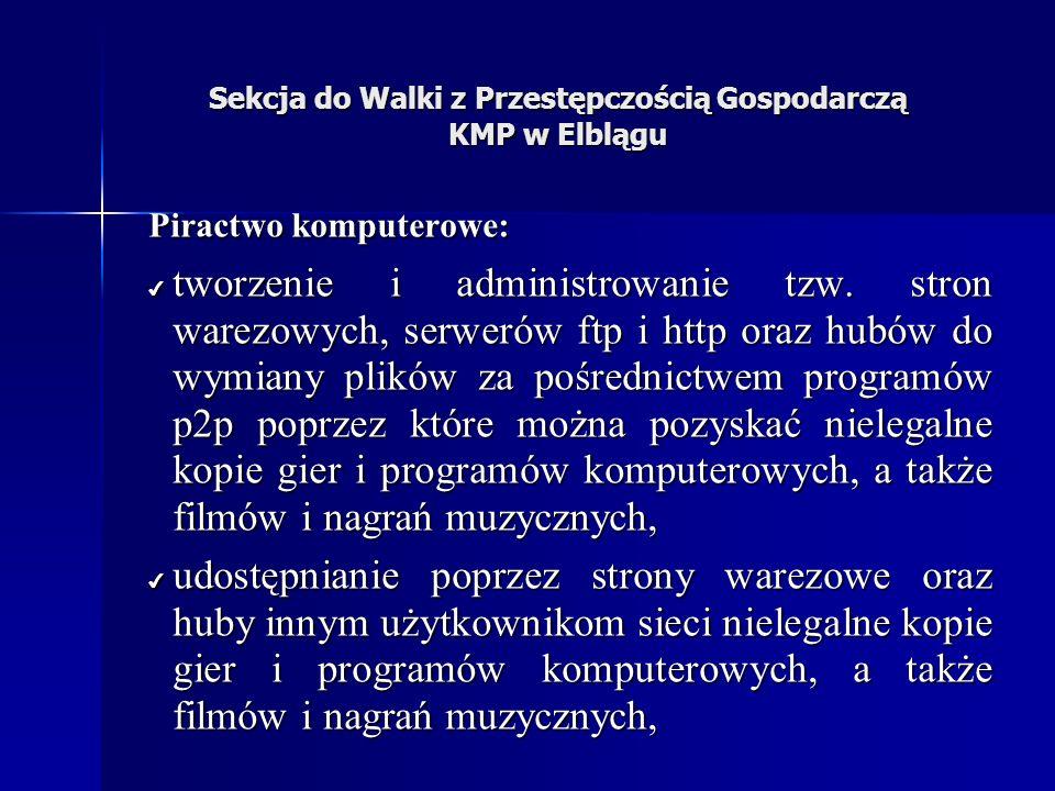 Sekcja do Walki z Przestępczością Gospodarczą KMP w Elblągu Piractwo komputerowe: tworzenie i administrowanie tzw.