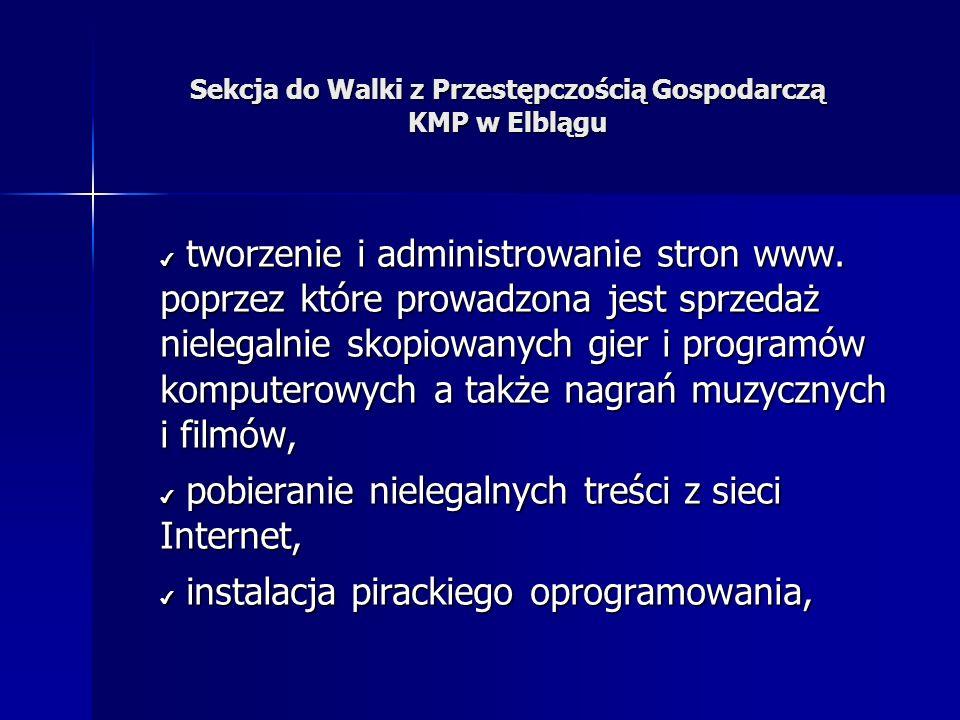 Sekcja do Walki z Przestępczością Gospodarczą KMP w Elblągu tworzenie i administrowanie stron www.