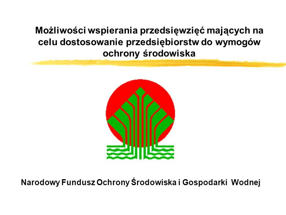 Możliwości wspierania przedsięwzięć mających na celu dostosowanie przedsiębiorstw do wymogów ochrony środowiska Narodowy Fundusz Ochrony Środowiska i