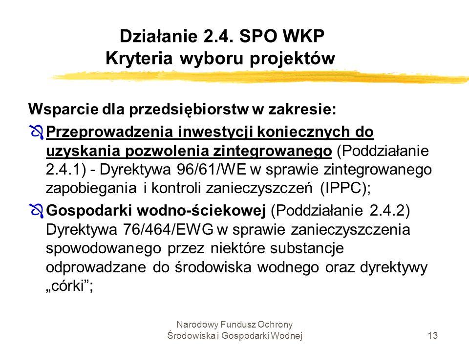 Narodowy Fundusz Ochrony Środowiska i Gospodarki Wodnej13 Działanie 2.4. SPO WKP Kryteria wyboru projektów Wsparcie dla przedsiębiorstw w zakresie: ÔP