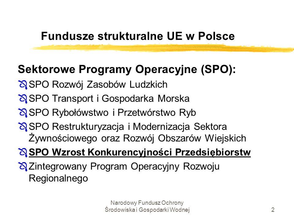 2 Fundusze strukturalne UE w Polsce Sektorowe Programy Operacyjne (SPO): ÔSPO Rozwój Zasobów Ludzkich ÔSPO Transport i Gospodarka Morska ÔSPO Rybołóws