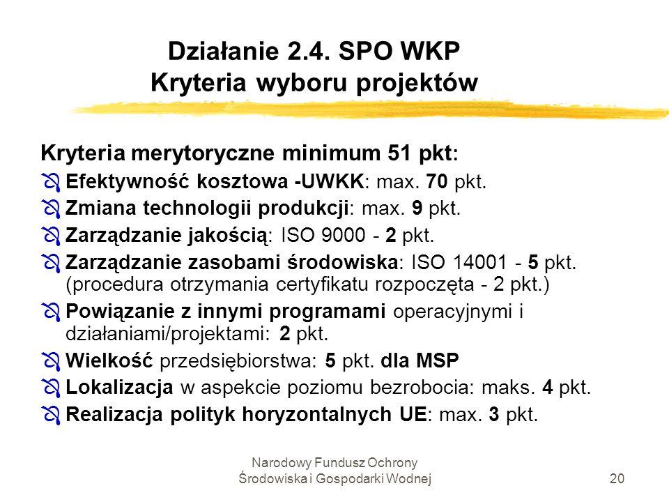 Narodowy Fundusz Ochrony Środowiska i Gospodarki Wodnej20 Działanie 2.4. SPO WKP Kryteria wyboru projektów Kryteria merytoryczne minimum 51 pkt : ÔEfe