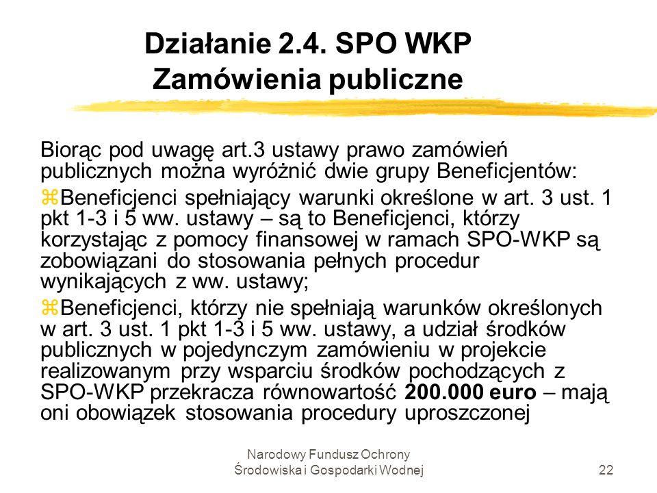 Narodowy Fundusz Ochrony Środowiska i Gospodarki Wodnej22 Działanie 2.4. SPO WKP Zamówienia publiczne Biorąc pod uwagę art.3 ustawy prawo zamówień pub