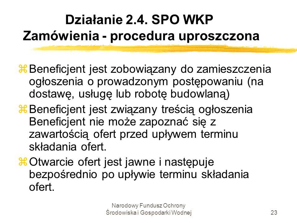 Narodowy Fundusz Ochrony Środowiska i Gospodarki Wodnej23 Działanie 2.4. SPO WKP Zamówienia - procedura uproszczona zBeneficjent jest zobowiązany do z
