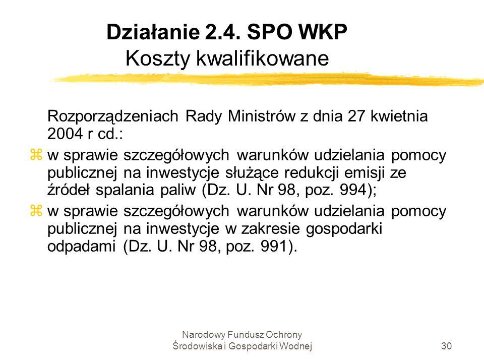 Narodowy Fundusz Ochrony Środowiska i Gospodarki Wodnej30 Działanie 2.4. SPO WKP Koszty kwalifikowane Rozporządzeniach Rady Ministrów z dnia 27 kwietn