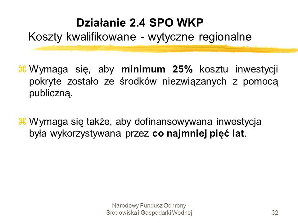 Narodowy Fundusz Ochrony Środowiska i Gospodarki Wodnej32 Działanie 2.4 SPO WKP Koszty kwalifikowane - wytyczne regionalne zWymaga się, aby minimum 25% kosztu inwestycji pokryte zostało ze środków niezwiązanych z pomocą publiczną.