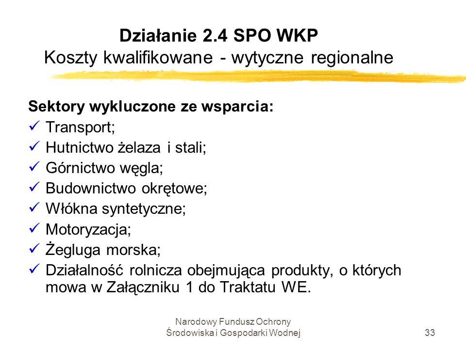 Narodowy Fundusz Ochrony Środowiska i Gospodarki Wodnej33 Działanie 2.4 SPO WKP Koszty kwalifikowane - wytyczne regionalne Sektory wykluczone ze wspar