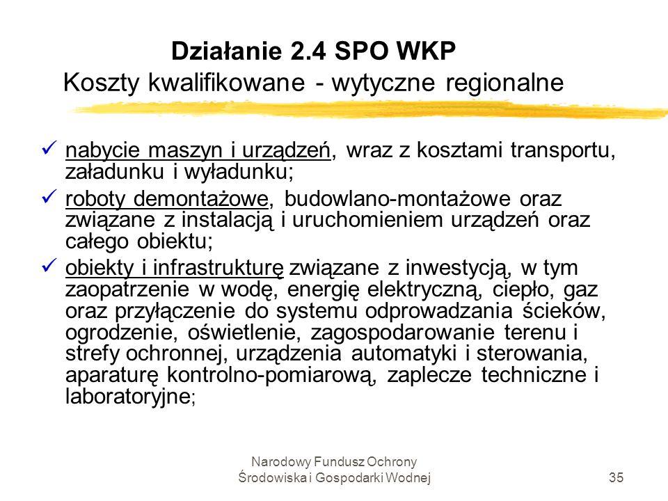 Narodowy Fundusz Ochrony Środowiska i Gospodarki Wodnej35 Działanie 2.4 SPO WKP Koszty kwalifikowane - wytyczne regionalne nabycie maszyn i urządzeń,