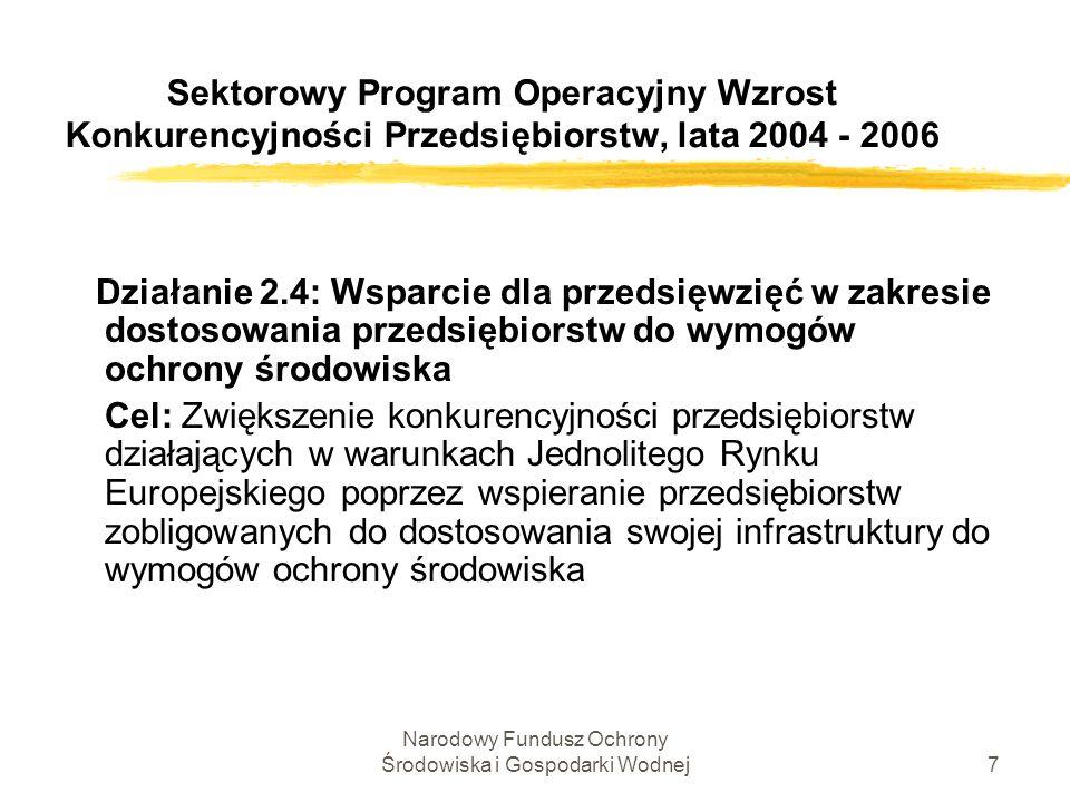 Narodowy Fundusz Ochrony Środowiska i Gospodarki Wodnej28 Działanie 2.4 SPO WKP Podstawy dopuszczalności pomocy publicznej Rozporządzenia w sprawie szczegółowych warunków udzielania pomocy na inwestycje służące ochronie środowiska opracowano w oparciu o: Wytyczne Wspólnoty w sprawie krajowej pomocy regionalnej (98/C 74/06); Wytyczne Wspólnoty w sprawie pomocy publicznej na ochronę środowiska (2001/C 37/03); Postanowienia Traktatu Akcesyjnego.