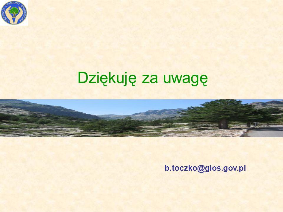 Dziękuję za uwagę b.toczko@gios.gov.pl
