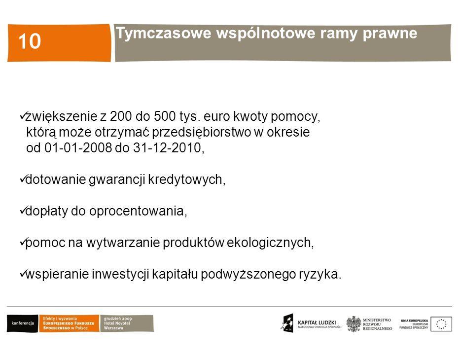 Kliknij, aby edytować styl 10 zwiększenie z 200 do 500 tys. euro kwoty pomocy, którą może otrzymać przedsiębiorstwo w okresie od 01-01-2008 do 31-12-2