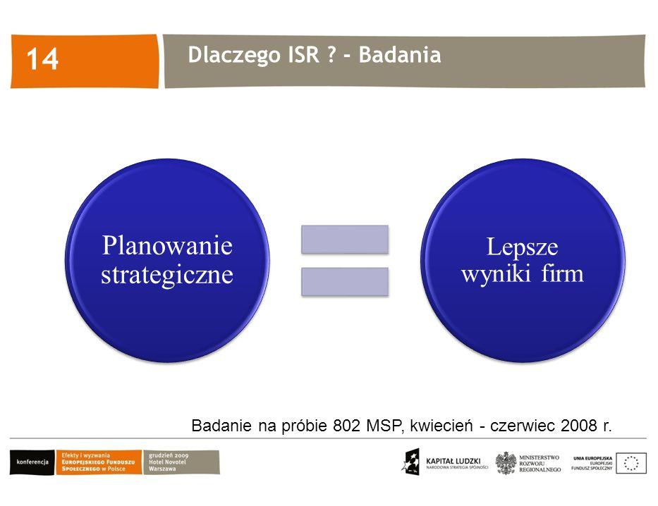 Kliknij, aby edytować styl 14 Planowanie strategiczne Lepsze wyniki firm Badanie na próbie 802 MSP, kwiecień - czerwiec 2008 r. Dlaczego ISR ? - Badan