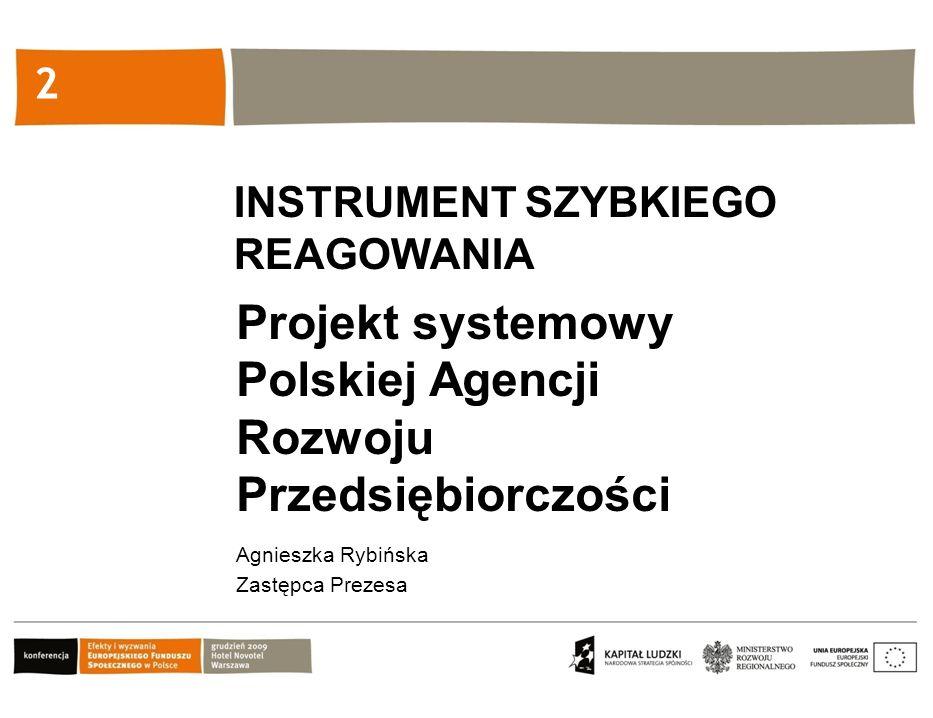 Kliknij, aby edytować styl 2 Projekt systemowy Polskiej Agencji Rozwoju Przedsiębiorczości Agnieszka Rybińska Zastępca Prezesa INSTRUMENT SZYBKIEGO REAGOWANIA