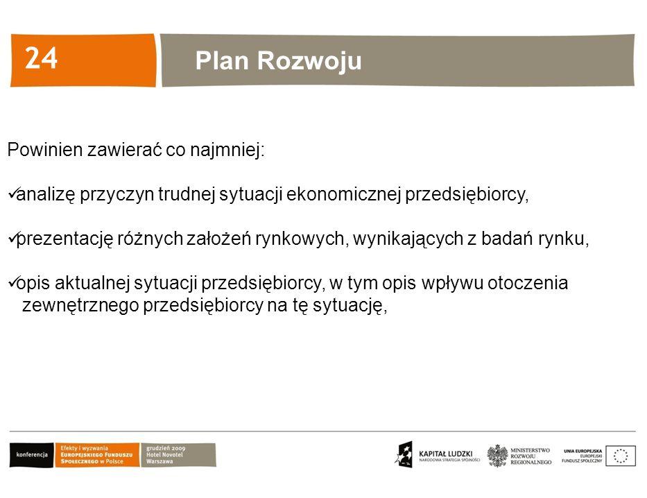 Kliknij, aby edytować styl 24 Plan Rozwoju Powinien zawierać co najmniej: analizę przyczyn trudnej sytuacji ekonomicznej przedsiębiorcy, prezentację r