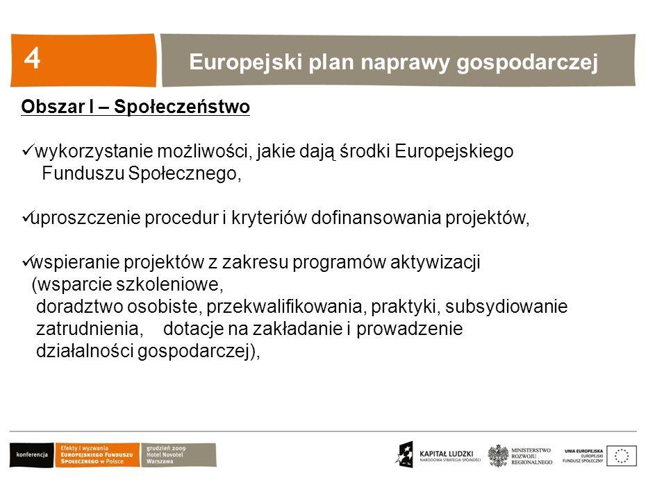 Kliknij, aby edytować styl 4 Obszar I – Społeczeństwo wykorzystanie możliwości, jakie dają środki Europejskiego Funduszu Społecznego, uproszczenie procedur i kryteriów dofinansowania projektów, wspieranie projektów z zakresu programów aktywizacji (wsparcie szkoleniowe, doradztwo osobiste, przekwalifikowania, praktyki, subsydiowanie zatrudnienia, dotacje na zakładanie i prowadzenie działalności gospodarczej), Europejski plan naprawy gospodarczej