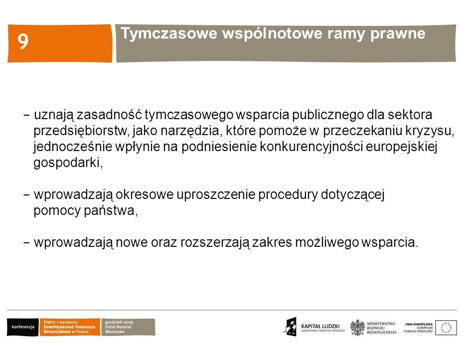 Kliknij, aby edytować styl 9  uznają zasadność tymczasowego wsparcia publicznego dla sektora przedsiębiorstw, jako narzędzia, które pomoże w przeczekaniu kryzysu, jednocześnie wpłynie na podniesienie konkurencyjności europejskiej gospodarki,  wprowadzają okresowe uproszczenie procedury dotyczącej pomocy państwa,  wprowadzają nowe oraz rozszerzają zakres możliwego wsparcia.