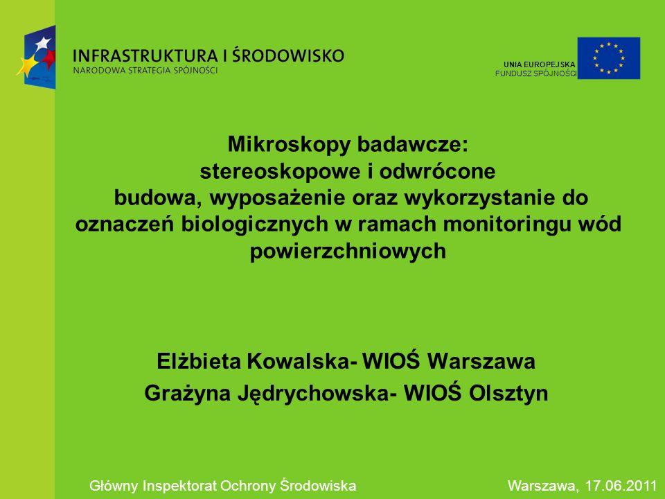 Mikroskopy badawcze: stereoskopowe i odwrócone budowa, wyposażenie oraz wykorzystanie do oznaczeń biologicznych w ramach monitoringu wód powierzchniow