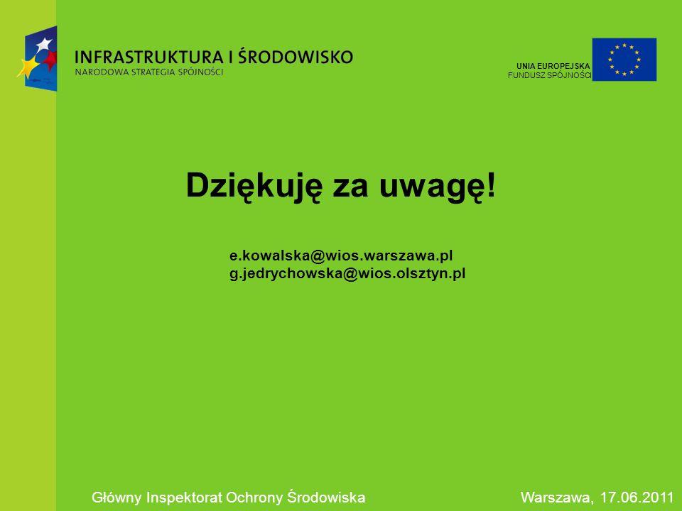 Dziękuję za uwagę! e.kowalska@wios.warszawa.pl g.jedrychowska@wios.olsztyn.pl Główny Inspektorat Ochrony ŚrodowiskaWarszawa, 17.06.2011 UNIA EUROPEJSK