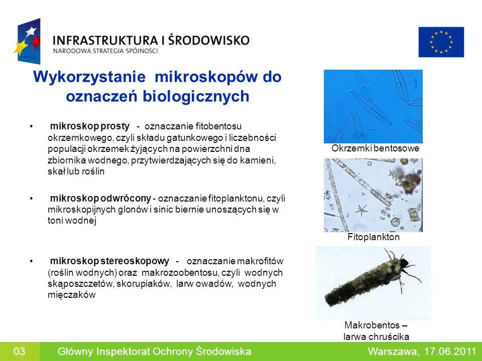 Wykorzystanie mikroskopów do oznaczeń biologicznych mikroskop prosty - oznaczanie fitobentosu okrzemkowego, czyli składu gatunkowego i liczebności pop