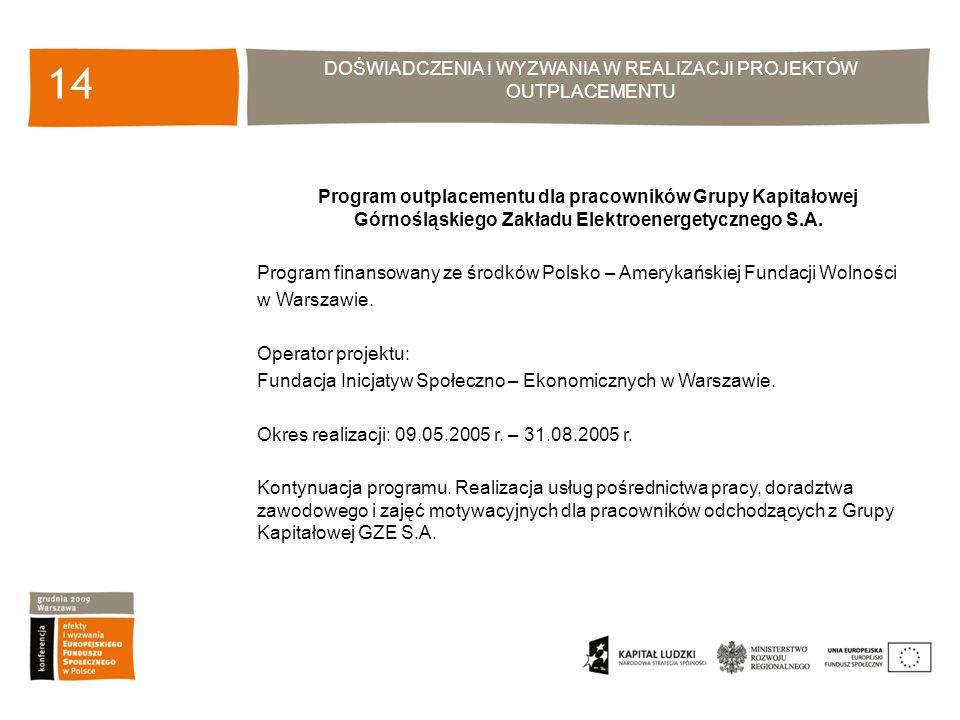 DOŚWIADCZENIA I WYZWANIA W REALIZACJI PROJEKTÓW OUTPLACEMENTU 14 Program outplacementu dla pracowników Grupy Kapitałowej Górnośląskiego Zakładu Elektroenergetycznego S.A.