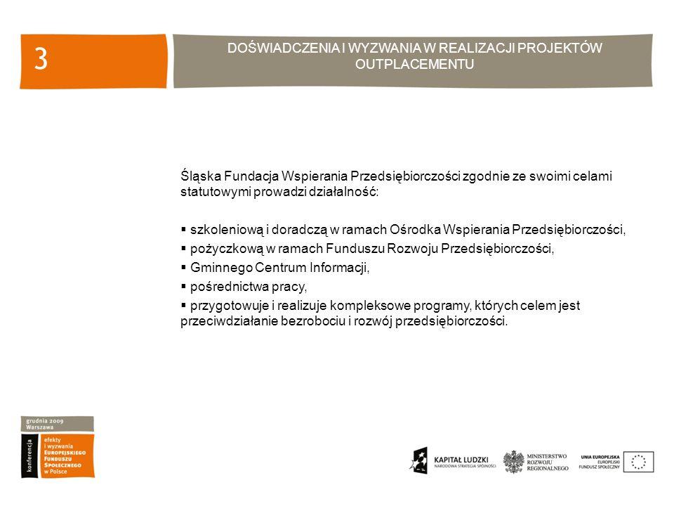 DOŚWIADCZENIA I WYZWANIA W REALIZACJI PROJEKTÓW OUTPLACEMENTU 3 Śląska Fundacja Wspierania Przedsiębiorczości zgodnie ze swoimi celami statutowymi prowadzi działalność: szkoleniową i doradczą w ramach Ośrodka Wspierania Przedsiębiorczości, pożyczkową w ramach Funduszu Rozwoju Przedsiębiorczości, Gminnego Centrum Informacji, pośrednictwa pracy, przygotowuje i realizuje kompleksowe programy, których celem jest przeciwdziałanie bezrobociu i rozwój przedsiębiorczości.