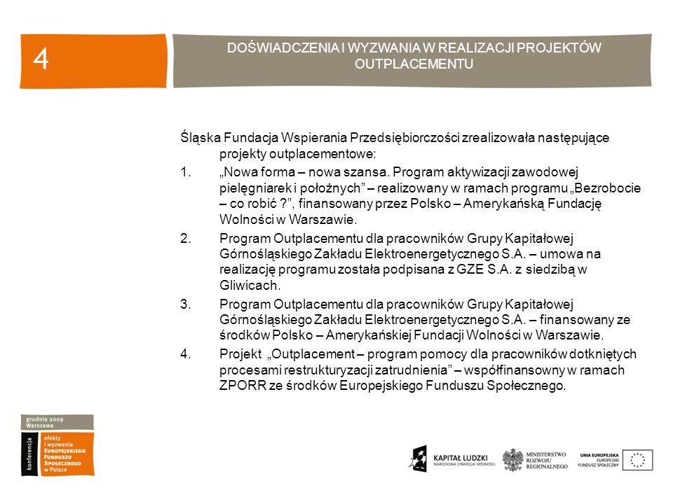 DOŚWIADCZENIA I WYZWANIA W REALIZACJI PROJEKTÓW OUTPLACEMENTU 15 Projekt Outplacement – program pomocy dla pracowników dotkniętych procesami restrukturyzacji zatrudnienia współfinansowany w ramach ZPORR ze środków Europejskiego Funduszu Społecznego.