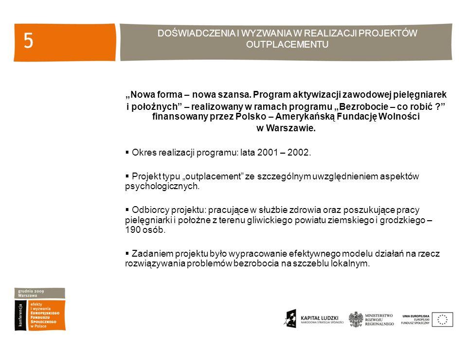 DOŚWIADCZENIA I WYZWANIA W REALIZACJI PROJEKTÓW OUTPLACEMENTU 6 Główne cele projektu: Stworzenie płaszczyzny porozumienia na szczeblu lokalnym w celu stworzenia efektywnego modelu działań na rzecz rozwiązywania problemów bezrobocia, Zaplanowana i zorganizowana pomoc zwalnianym pielęgniarkom i położnym, wspierająca poszukiwanie nowego zatrudnienia jak również działania zmierzające do podwyższenia kwalifikacji tej grupy zawodowej oraz samozatrudnienia.