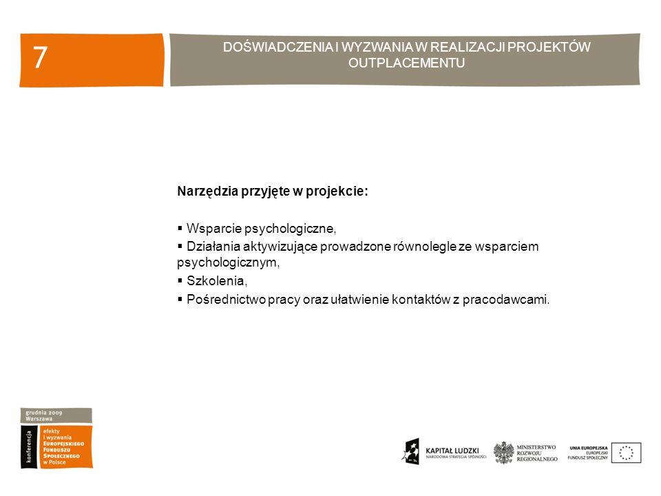 DOŚWIADCZENIA I WYZWANIA W REALIZACJI PROJEKTÓW OUTPLACEMENTU 7 Narzędzia przyjęte w projekcie: Wsparcie psychologiczne, Działania aktywizujące prowadzone równolegle ze wsparciem psychologicznym, Szkolenia, Pośrednictwo pracy oraz ułatwienie kontaktów z pracodawcami.