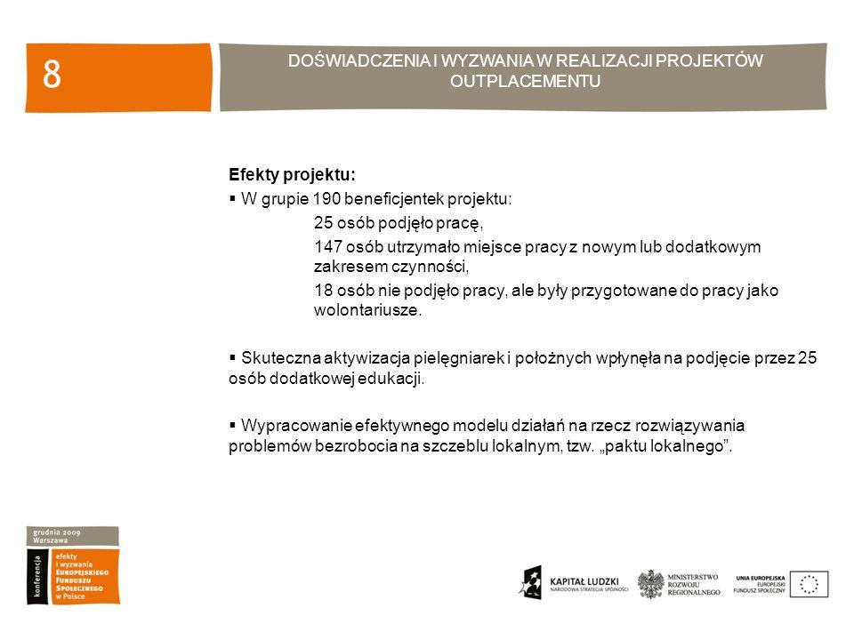 DOŚWIADCZENIA I WYZWANIA W REALIZACJI PROJEKTÓW OUTPLACEMENTU 19 Efekty projektu: Przeszkolenie 50 osób, które uzyskały umiejętności poruszania się po rynku pracy, Przeszkolenie 54 osób, które podniosły swoje kwalifikacje potwierdzone stosownym dyplomem/certyfikatem, 282 oferty pracy ( co najmniej 10 ofert na jednego beneficjenta) zdobyte w wyniku pośrednictwa pracy z którego skorzystało 50 osób, Podjęcie zatrudnienia przez 5 osób.
