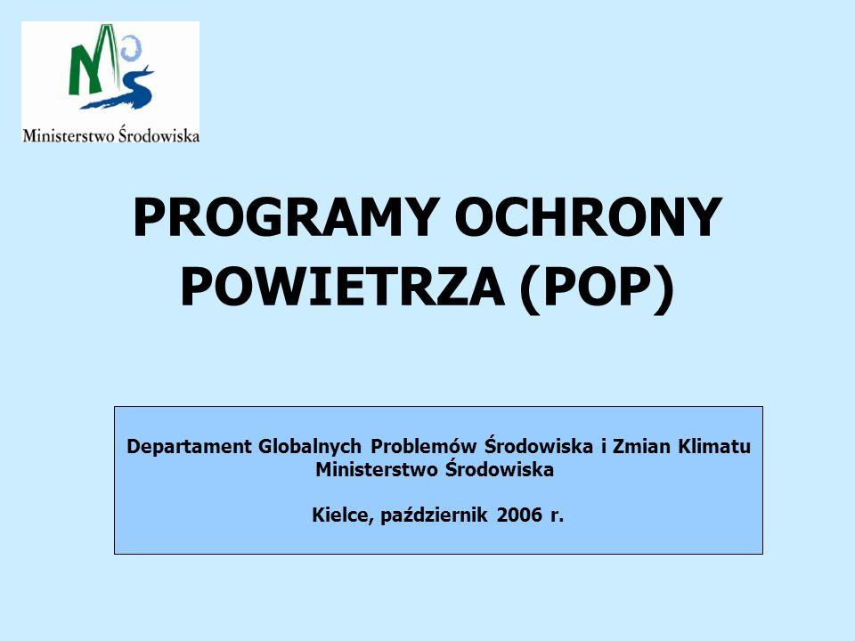 PROGRAMY OCHRONY POWIETRZA (POP) Departament Globalnych Problemów Środowiska i Zmian Klimatu Ministerstwo Środowiska Kielce, październik 2006 r.