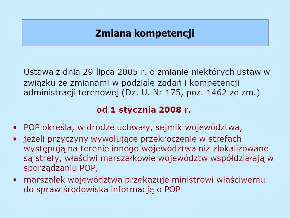 Zmiana kompetencji Ustawa z dnia 29 lipca 2005 r. o zmianie niektórych ustaw w związku ze zmianami w podziale zadań i kompetencji administracji tereno